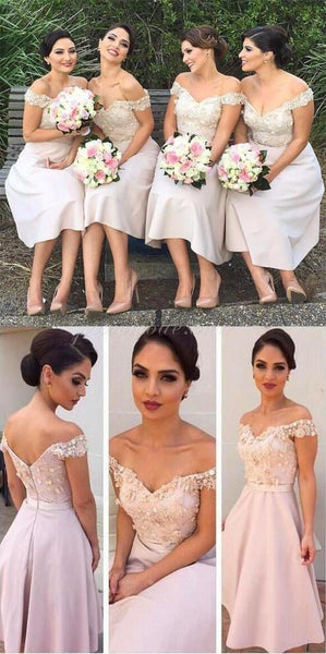 2019 Cheap Maid Of Honor Keen Length Short  Floral A Line  Bridesmaid Dresses , Wedding Party Gown,EPR003