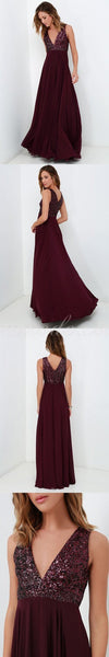 A-line long v-neck top sequin simple cheap chiffon prom dress , Burgundy bridesmaid dress , PDY0115