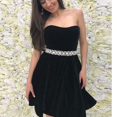 Black Simple Pearls Beaded Belt Cheap Short Homecoming Dresses homecoming prom gown dresses, BDY0106