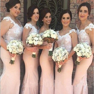 Mermaid Off-the-Shoulder Pink Appliques Bridesmaid Dresses ,Cheap Long Bridesmaid Dresses,WGY0287