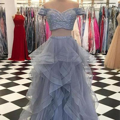 Grey Two Pieces Off Shoulder Tulle Beaded Party Cocktail Evening Long Prom Dresses Online,PDY0136