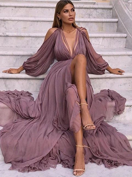 A-Line Long Sleeves Purple Chiffon Prom Dresses,Cheap Prom Dresses,PDY0670