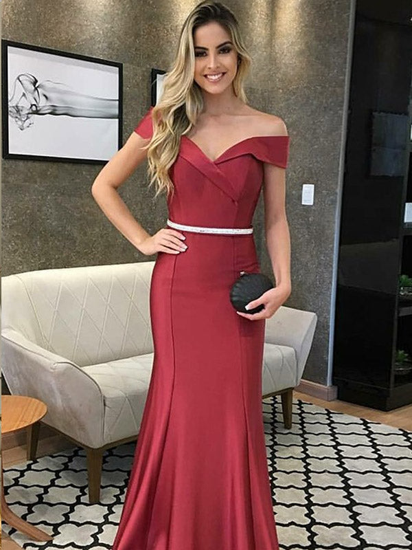 Mermaid Off-the-Shoulder Dark Red Prom Dresses,Cheap Prom Dresses,PDY0546