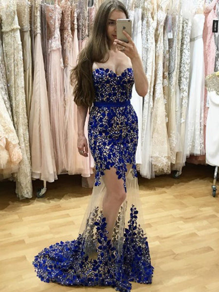 Mermaid Sweetheart Royal Blue Tulle Prom Dress ,Cheap Prom Dresses,PDY0650