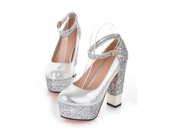 Fashion High Heels Round Pointed Toe Sequin Wedding Bridal Shoes, SY0106