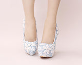 Handmade High Heels Round Toe Blue Lace Crystal Wedding Shoes, SY0111