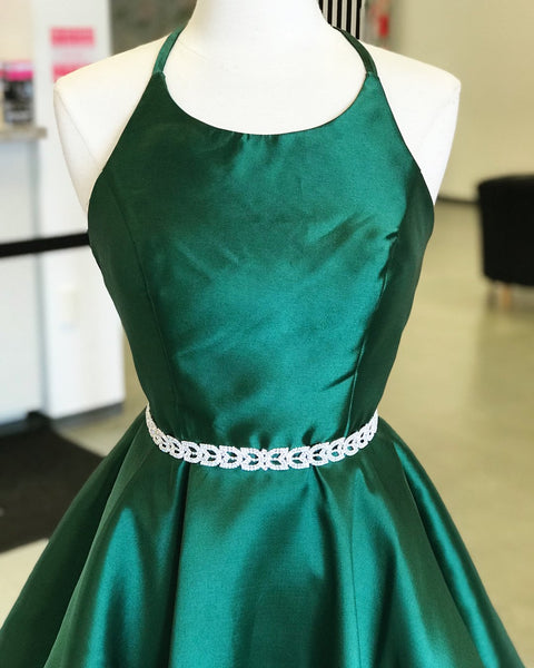 Halter Emerald_green Satin Homecoming Dresses With Belt ,Short Homecoming Dresses,BDY0205