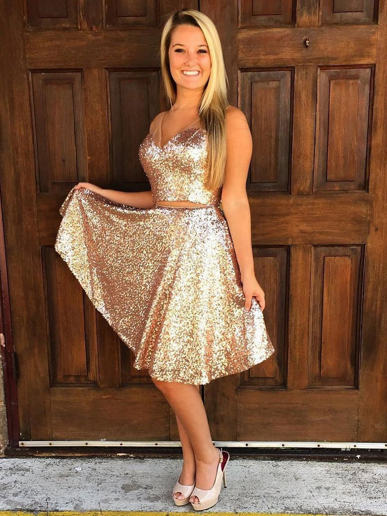 Sparkly Simple V Neck Cheap Two Piece Sequin Homecoming Dresses CM495
