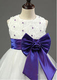 Fascinating Tulle A-line Flower Girl Dress With Beaded Handmade Flowers,FGY0158