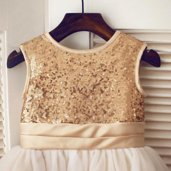 Gold Sequin Simple Cutest  Cheap Soft Pretty Flower Girl Dresses With Bow, FGY0121