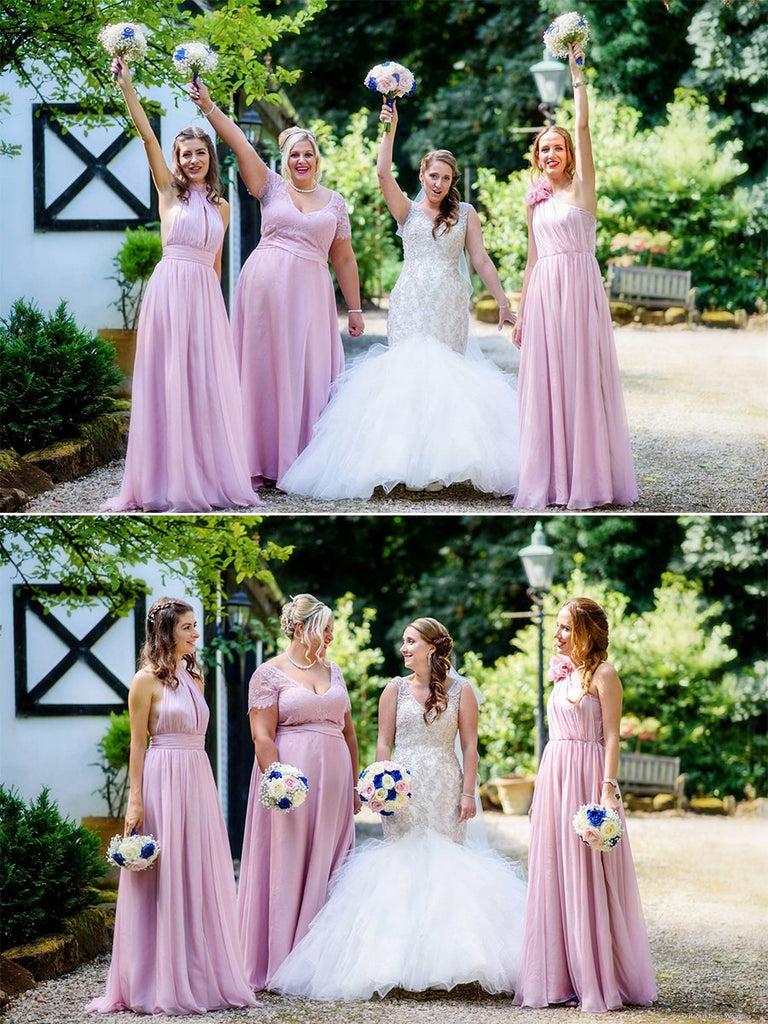 Pink Lace Bridesmaid Dresses,Plus Size One-Shoulder Bridesmaid Dresses,Cheap Chiffon Bridesmaid Dresses,WGY0269