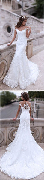 Charming Off Shoulder Sexy Mermaid White Lace Bridal Gown, Wedding Dresses, WDY0112