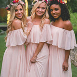 Pink Chiffon Bridesmaid Dresses,Off-The-Shoulder Bridesmaid Dresses,Cheap Bridesmaid Dresses,WGY0273