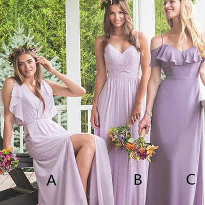 Purple Chiffon Bridesmaid Dresses,Spaghetti Straps Bridesmaid Dresses,Cheap Bridesmaid Dresses,WGY0274