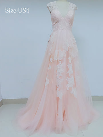 Discount V Neck Peach Lace Long Prom Dresses in Size In Stock ,DD1002