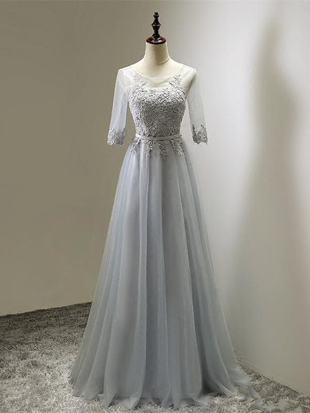 Illusion Gray Tulle Half-sleeve Appliqued Bridesmaid Dress, A-line Charming Party Dress, EPR402