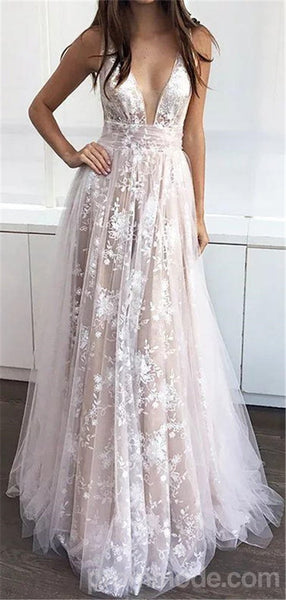 V-neck White Tulle Charming Open-back Long Prom Dresses, A-line Cheap Formal Prom Dresses, EPR431