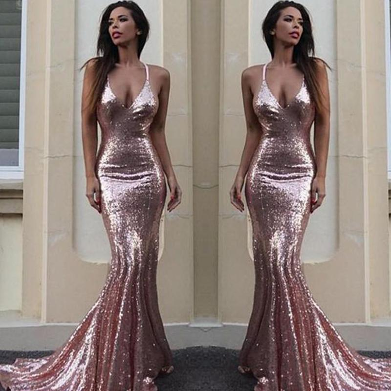 Sexy Spaghetti Rose Gold Long Mermaid Prom Dresses, Affordable Long Prom Dresses, BG0350