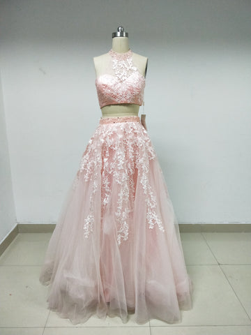 Discount Two Pieces Pink Lace Long Prom Dresses in Size In Stock ,DD1004