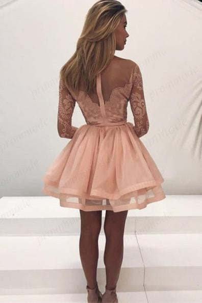 Long Sleeves Pink Lace Homecoming Dresses ,Short Organza Homecoming Dresses,BDY0200