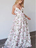 Princess A-line V-neck Straps Floral Floor-Length Prom Dress,Evening Party Dresses PDY0219