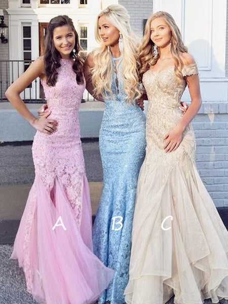 Mermaid Lilac Beaded Pinkblue Tulle Long Prom Dressescheap Prom