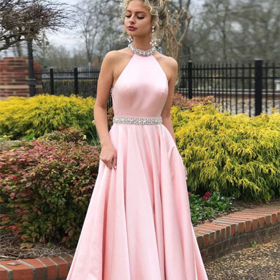 Sexy Backless Pink Halter A-line Long Prom Dresses,Evening Party Dresses ,PDY0310