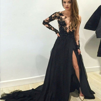 Long Sleeves Black Lace Chiffon Floor Length Party Dress ,Custom Dress, Party Cocktail Dress ,PDY0303