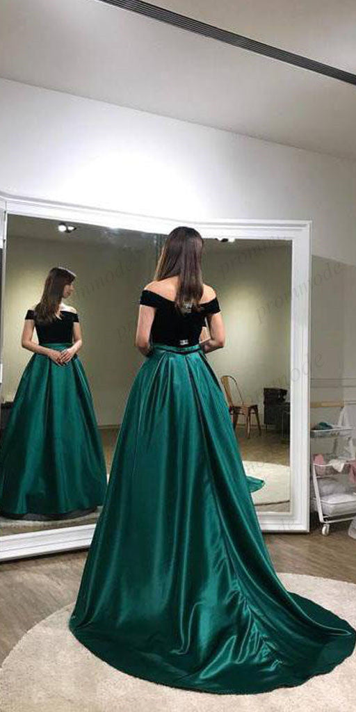 A-line Dark Green Off-the-shoulder Evening Dresses ,Cheap Prom Dresses,PDY0585