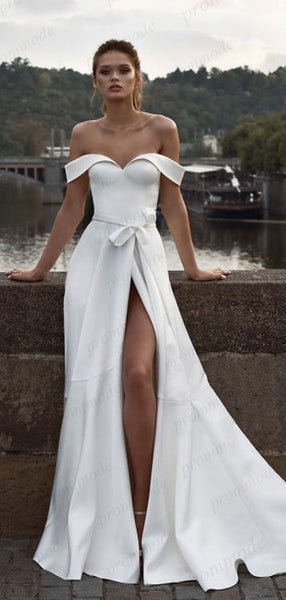 Sheath Off-the-Shoulder White Satin Evening Dresses ,Cheap Prom Dresses,PDY0603