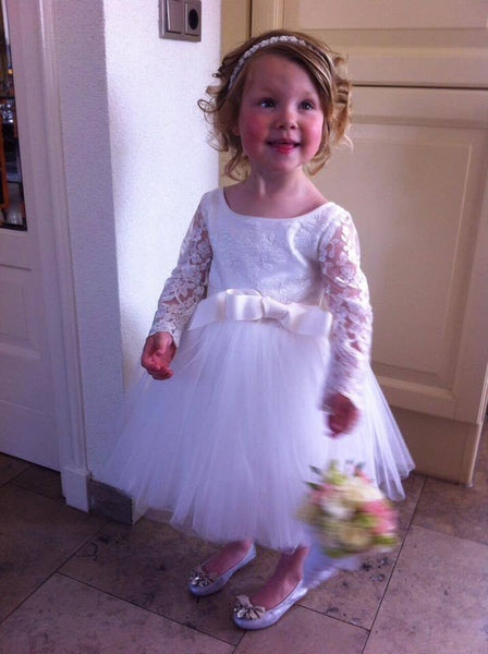 A-line Long Sleeves White Short Flower Girl Dresses,Cheap Flower Girl Dresses ,FGY0247