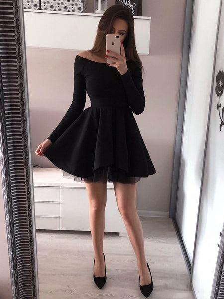 Off,the,Shoulder Long Sleeves Black Tulle Homecoming Dress,Short Prom  Dresses,BDY0344