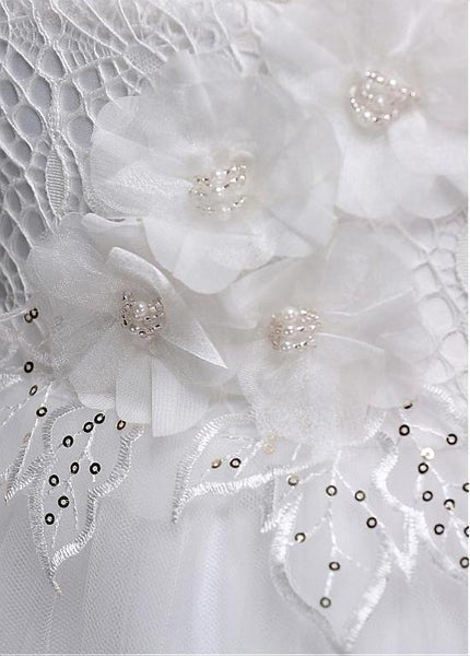 A-line Beaded White Lace Flower Girl Dresses With Handmade Flowers ,Cheap Flower Girl Dresses ,FGY0212