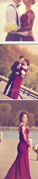 Burgundy Jersey Long Sleeve Lace Wedding Dresses, Popular Prom Dresses, WDY0108