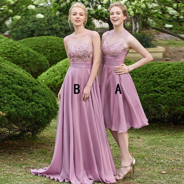 Pink Chiffon Bridesmaid Dresses,Short Lace Bridesmaid Dresses,Cheap Long Bridesmaid Dresses,WGY0275