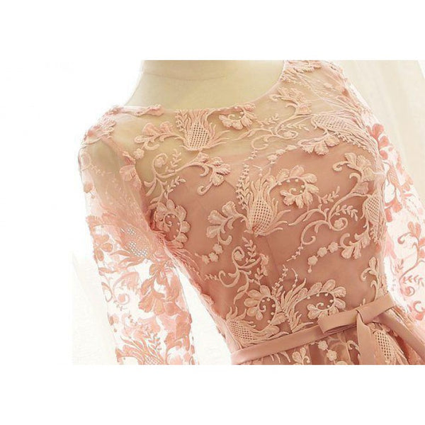 Pink Lace Homecoming Dresses,Open Back Homecoming Dresses,Long Sleeves Short Prom Dresses,BDY0248