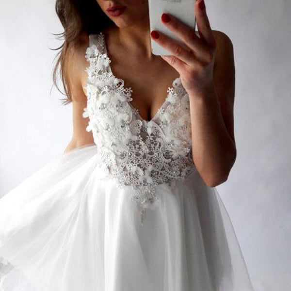 White Lace Homecoming Dresses ,V-neck Homecoming Dresses,Cheap Short Prom Dresses,BDY0242