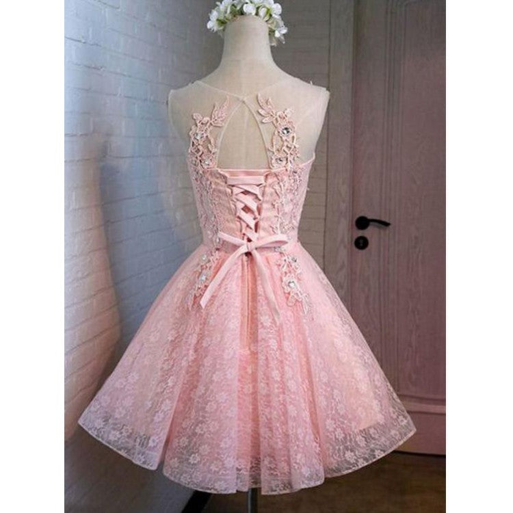 Pink Lace Homecoming Dresses ,Beaded Homecoming Dresses,Cheap Short Prom Dresses,BDY0241