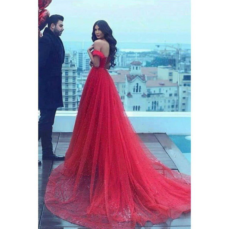 A-Line Off-the-Shoulder Court Train Dark Red Tulle Prom Dress With ...
