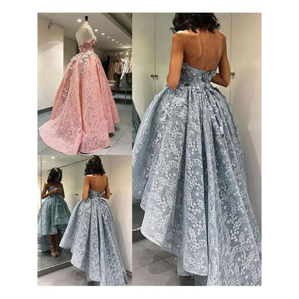 High-Low Grey Homecoming Dresses ,Backless Lace Homecoming Dresses,Cheap Short Prom Dresses,BDY0240