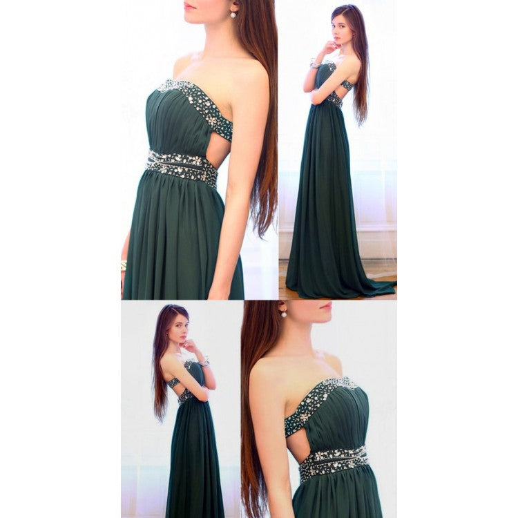 Strapless Dark Green Long  Strapless Floor-length Chiffon Prom Dress With Beads,Evening Party Dress,PDY0273
