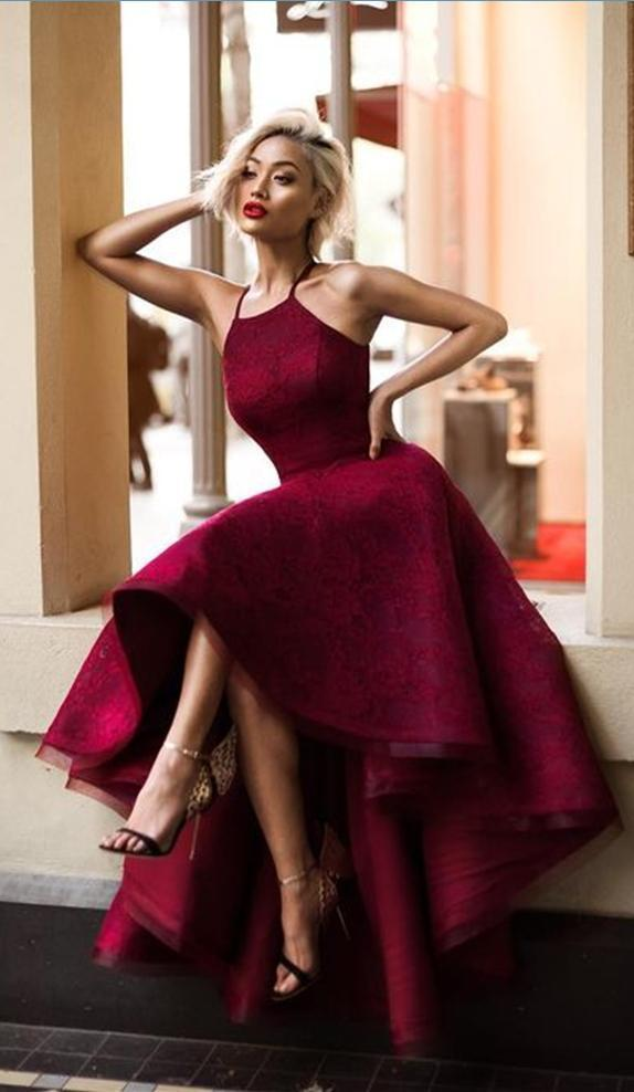 Halter Cute Dark Red High Low Lace Homecoming Dresses CM511