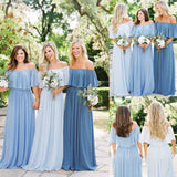 Long Off Shoulder Chiffon Simple Design Floor-Length Bridesmaid Dress, Dress for Wedding,WGY0156