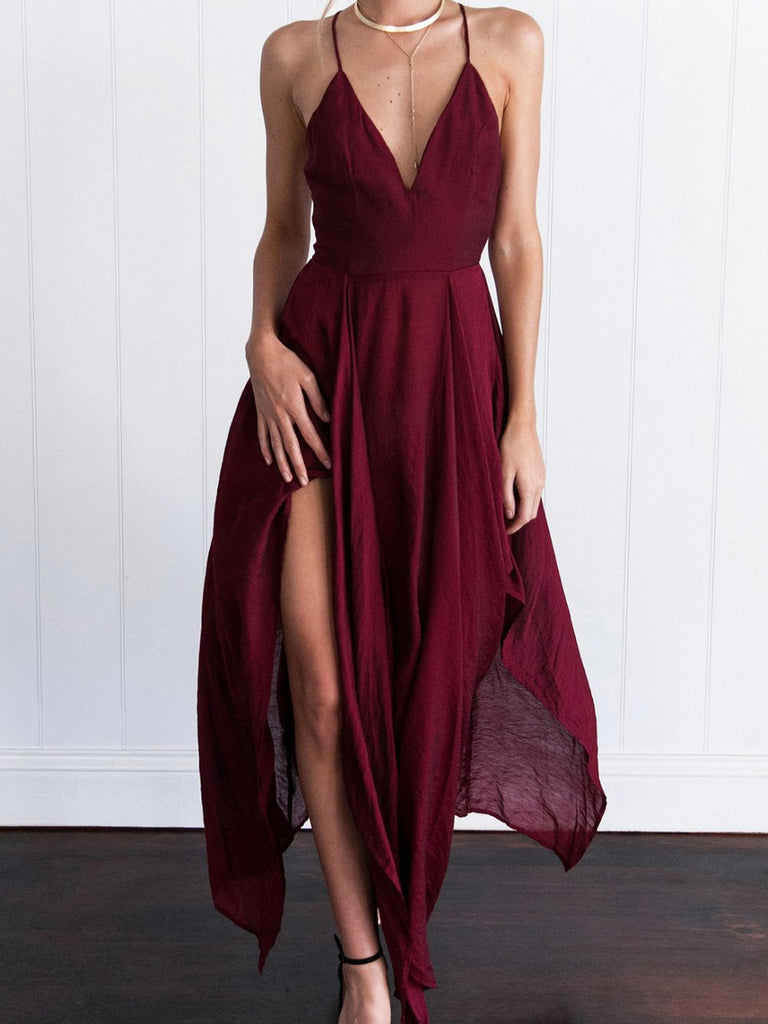 Dark Red Chiffon V-neck Homecoming Dresses ,Cheap Short Prom Dresses,BDY0232