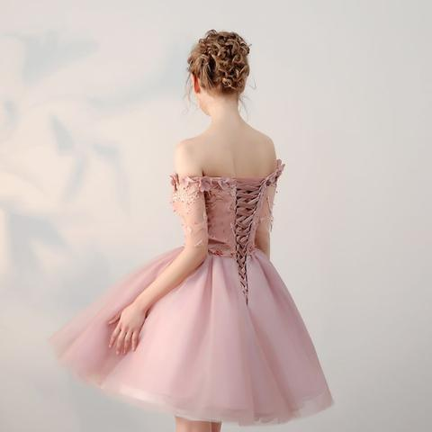 Dusty Pink Off Shoulder Short Sleeves Cheap Homecoming Dresses CM546