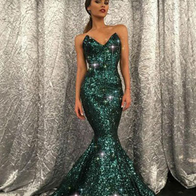 Sparkly V Neck Green Sequin Mermaid Long Prom Dress,Evening Party Dresses,PDY0162