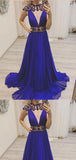 A Line Royal Beaded Blue Chiffon Long Prom Dress,Cheap Prom Dresses,PDY0537