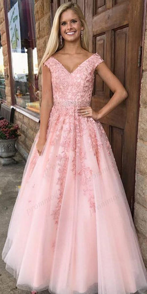 A-line Off-the-Shoulder Pink Tulle Evening Dresses,Cheap Prom Dresses,PDY0573
