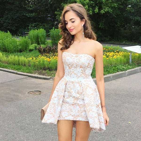 Cheap Cute Cheap Custom Strapless Lace Homecoming Dresses 2018, CM438