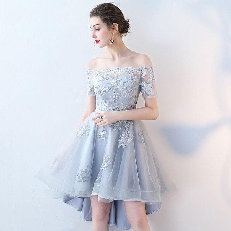 Short Sleeve Off Shoulder High How Dusty Blue Cheap Homecoming Dresses CM513